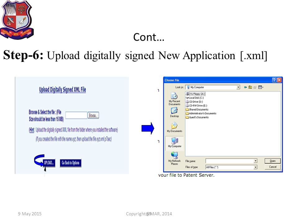 Step-6: Upload digitally signed New Application [.xml]